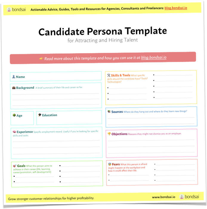 Free candidate personal template by Bondsai, a highly useful tool when recruiting.