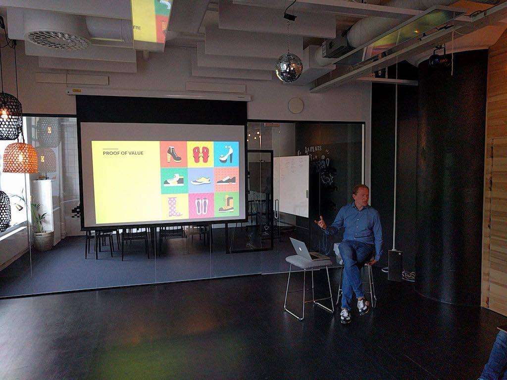 Henrik Eneroth, service designer, speaking at the Stockholm Value-Pricing Meetup, May 2016. Meetups are great for recruiting.