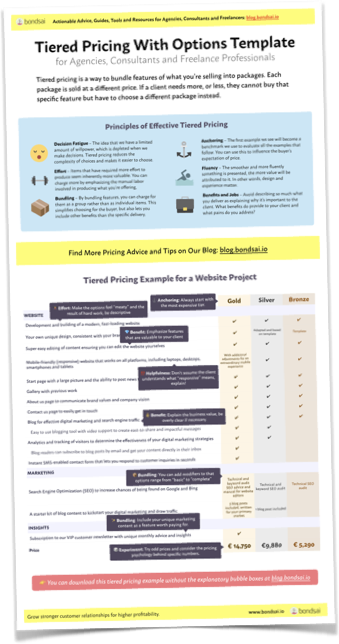 Tiered Pricing With Options Template Without Explanatory Bubbles, Thumbnail