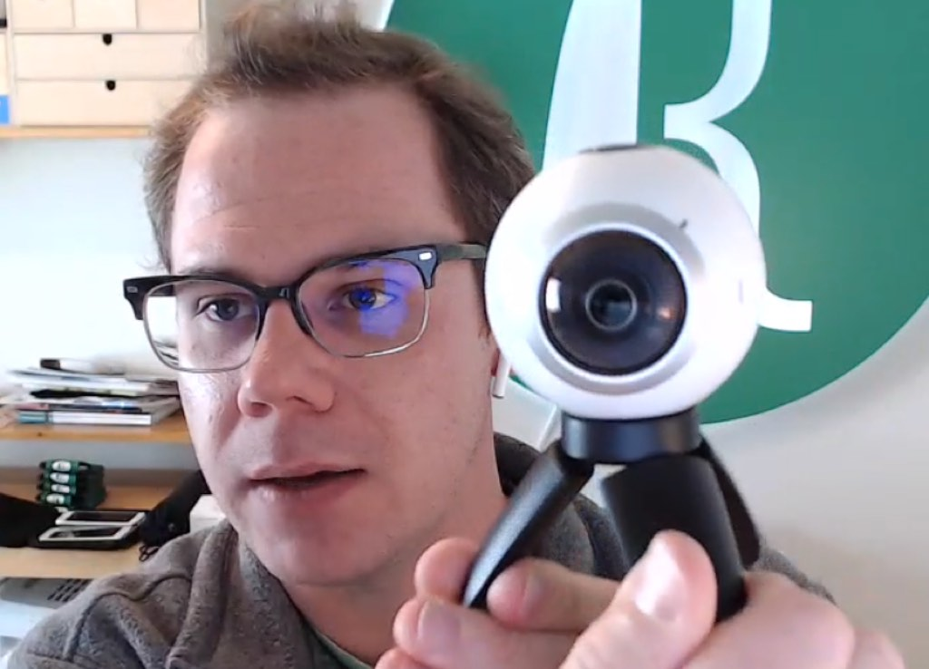 """A 360-degree camera is of course two 180 lenses glued back-to-back, it's all there is. It's like 150 bucks, it's cheap. Not expensive at all."" Todd demonstrates."