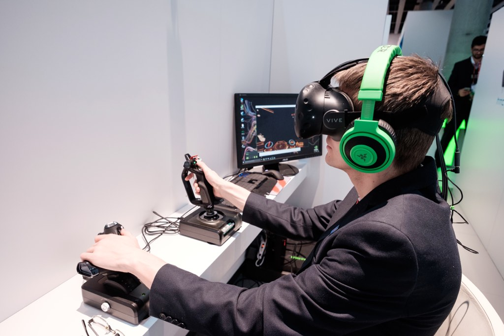HTC Vive VR headset used for a gaming demo at Mobile World Congress.