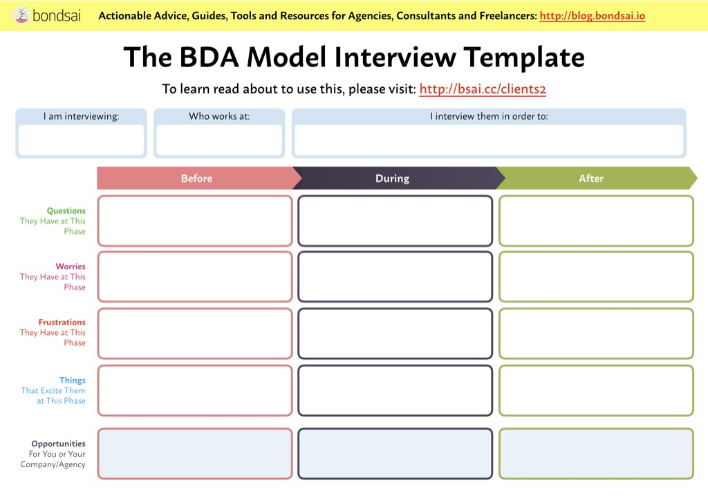Empty BDA worksheet