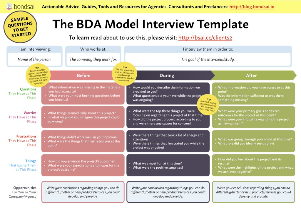 BDA worksheet with instructions and sample questions