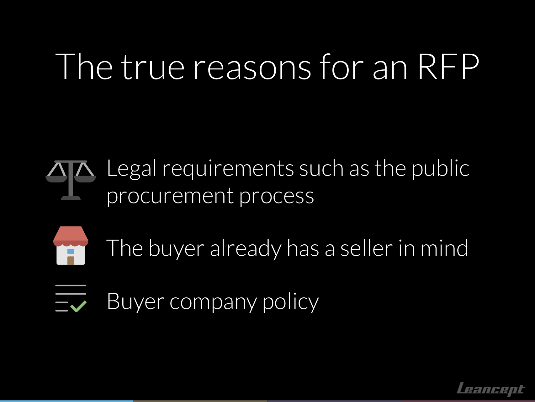 The true and actual reasons why companies issue RFPs: legal requirements, column B fodder and company policy.
