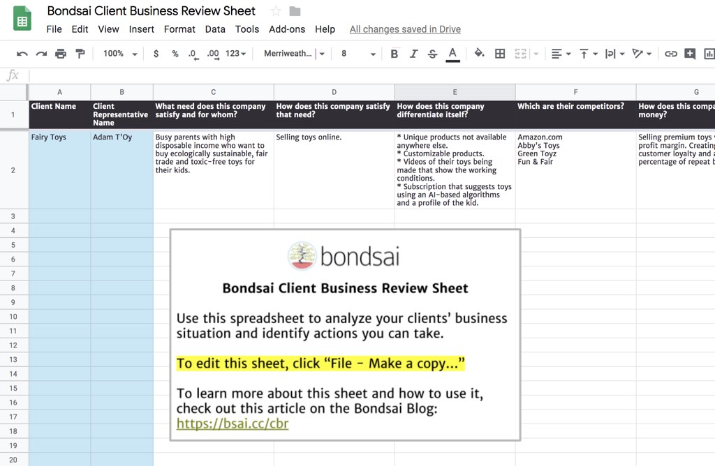 Feel free to use our client business review sheet template and modify it to fit your needs.