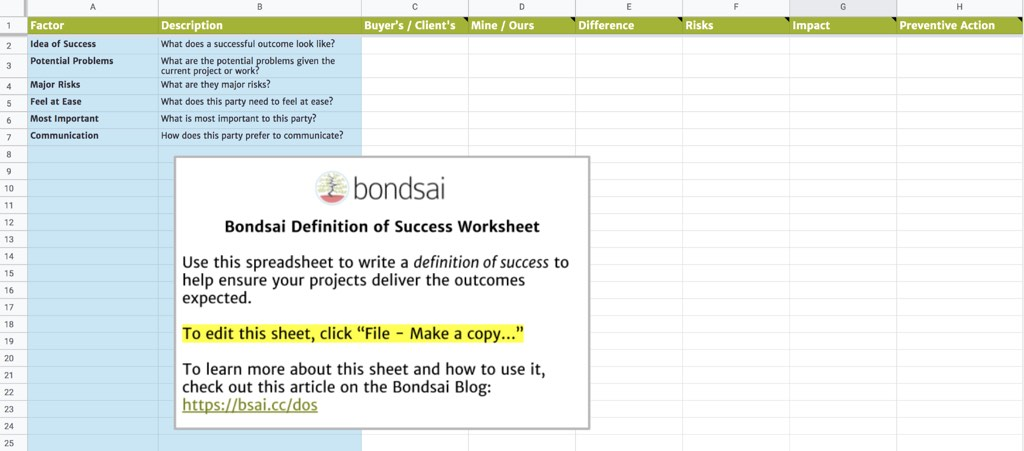 Use our free definition of success worksheet to think about your and your client's idea of success factors.